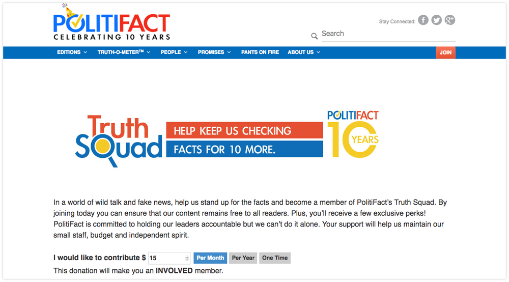 Politifact's members are part of its  Truth Squad .