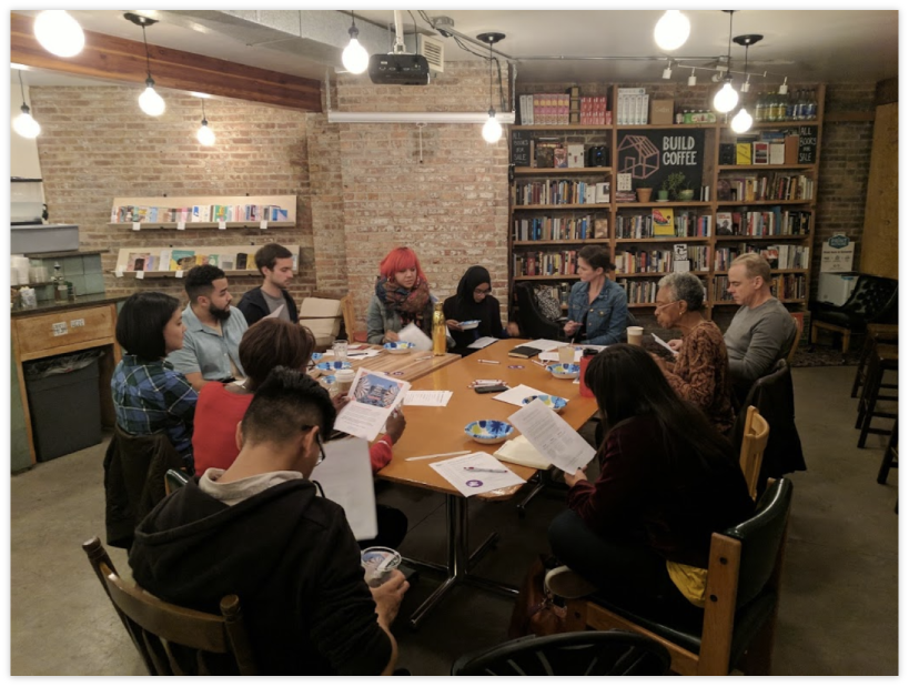 City Bureau members and co-founders discuss membership program tweaks and ideas at a Public Newsroom event in early October.