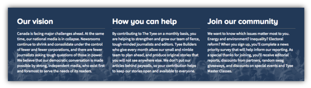 "The Tyee  asks new members  to say which topics they most support through a ""news priority survey."""