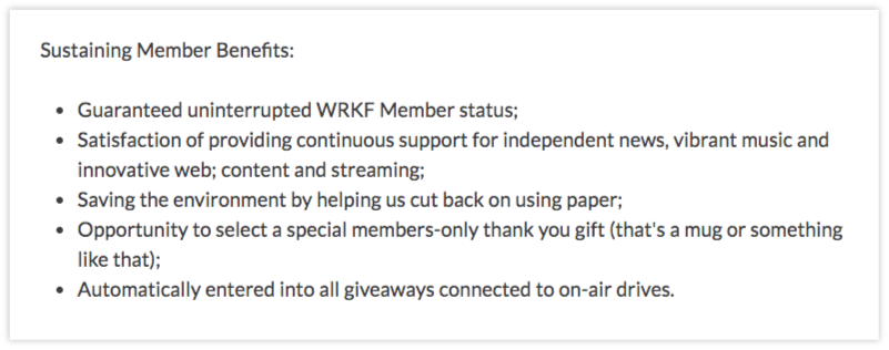 WRFK's membership pitch  is simple, and the station isn't trying to sell people on membership for material perks.