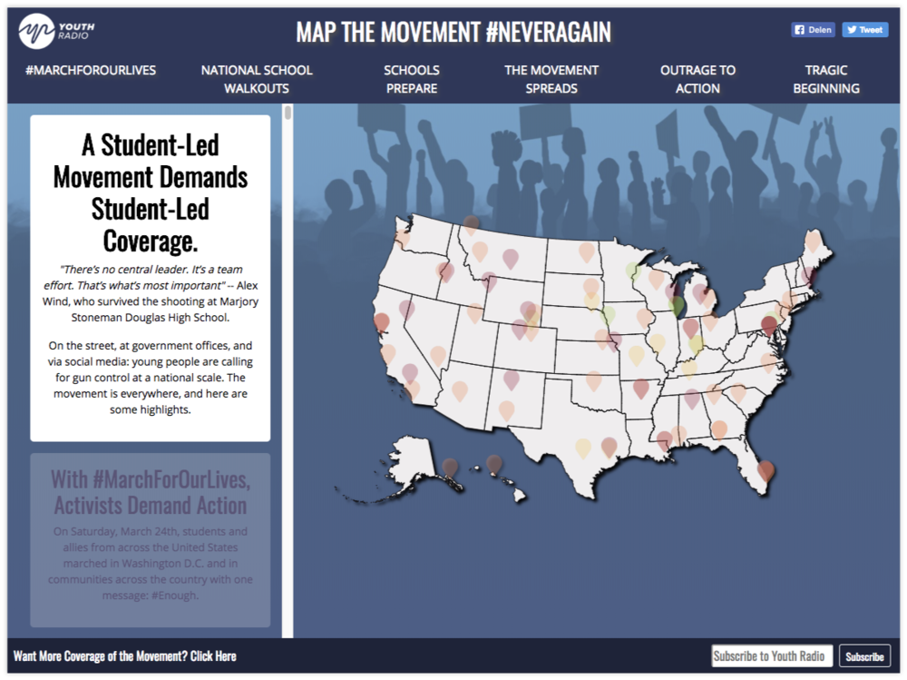 Youth Radio's interactive map  showing coverage of the #neveragain movement.