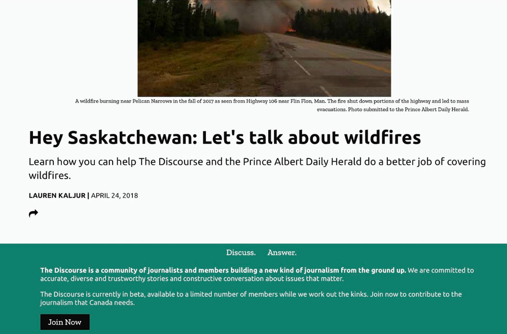 Environment reporter Lauren Kaljur published callouts via the Discourse newsletter, web, and social channels to help launch a biweekly wildfire newsletter. She wanted to tap readers' knowledge about the human and environmental issues tied to wildfires.