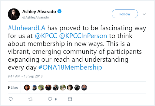 Tweets about KPCC's #UnheardLA and Ashley's reflections on the flagship event series