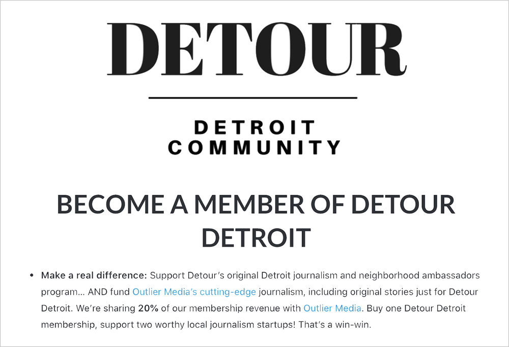 The partnership between Outlier Media and the Detour newsletter was the result of both founders wanting to work together and support each other, Sarah said.