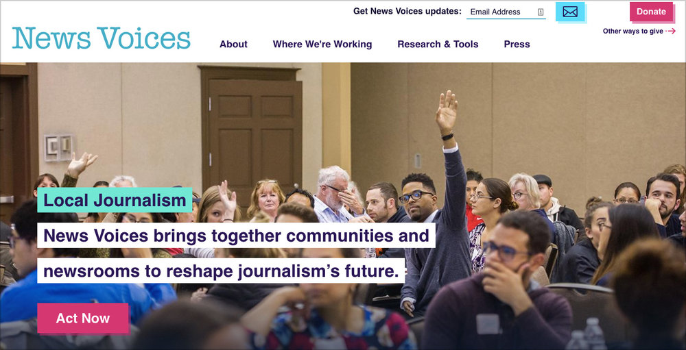 """Free Press' News Voices project    has staff in New Jersey and North Carolina. Their site explains that community news representation is a racial justice issue: """"Local news outlets have long misrepresented and maligned communities of color. Our work seeks to amplify the voices of people of color so they have a role in to setting the news agenda and changing coverage of their communities."""""""