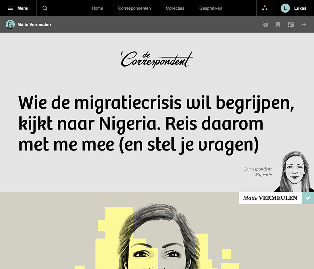 """""""Travel with me and ask your questions,"""" wrote De Correspondent migration reporter Maite Vermeulen. She invited members of the platform as she prepared to move to Nigeria to explore emigration to Europe."""