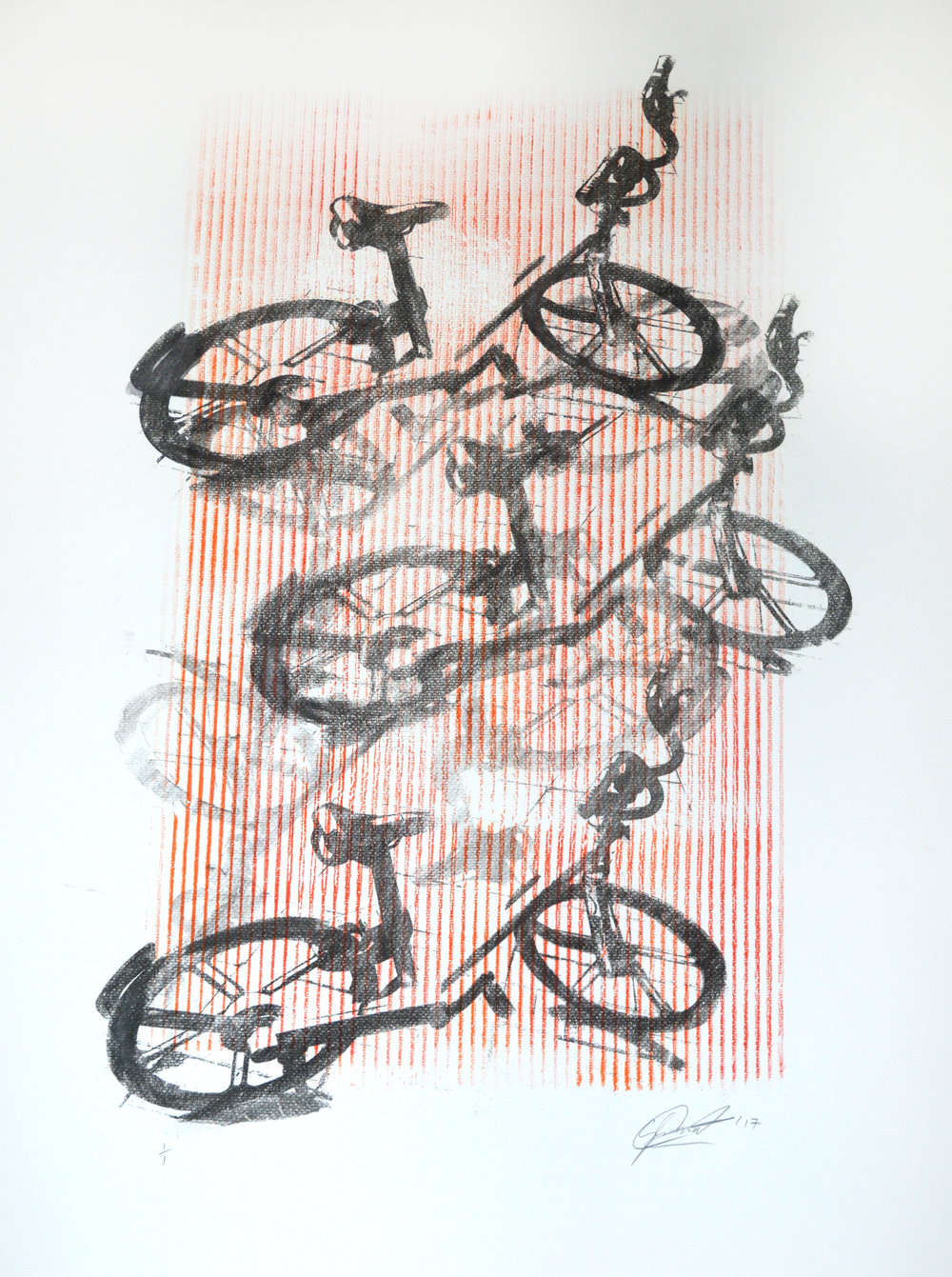 Bikes 4 - Monoprint on Paper. 65x85 cm. 2017.