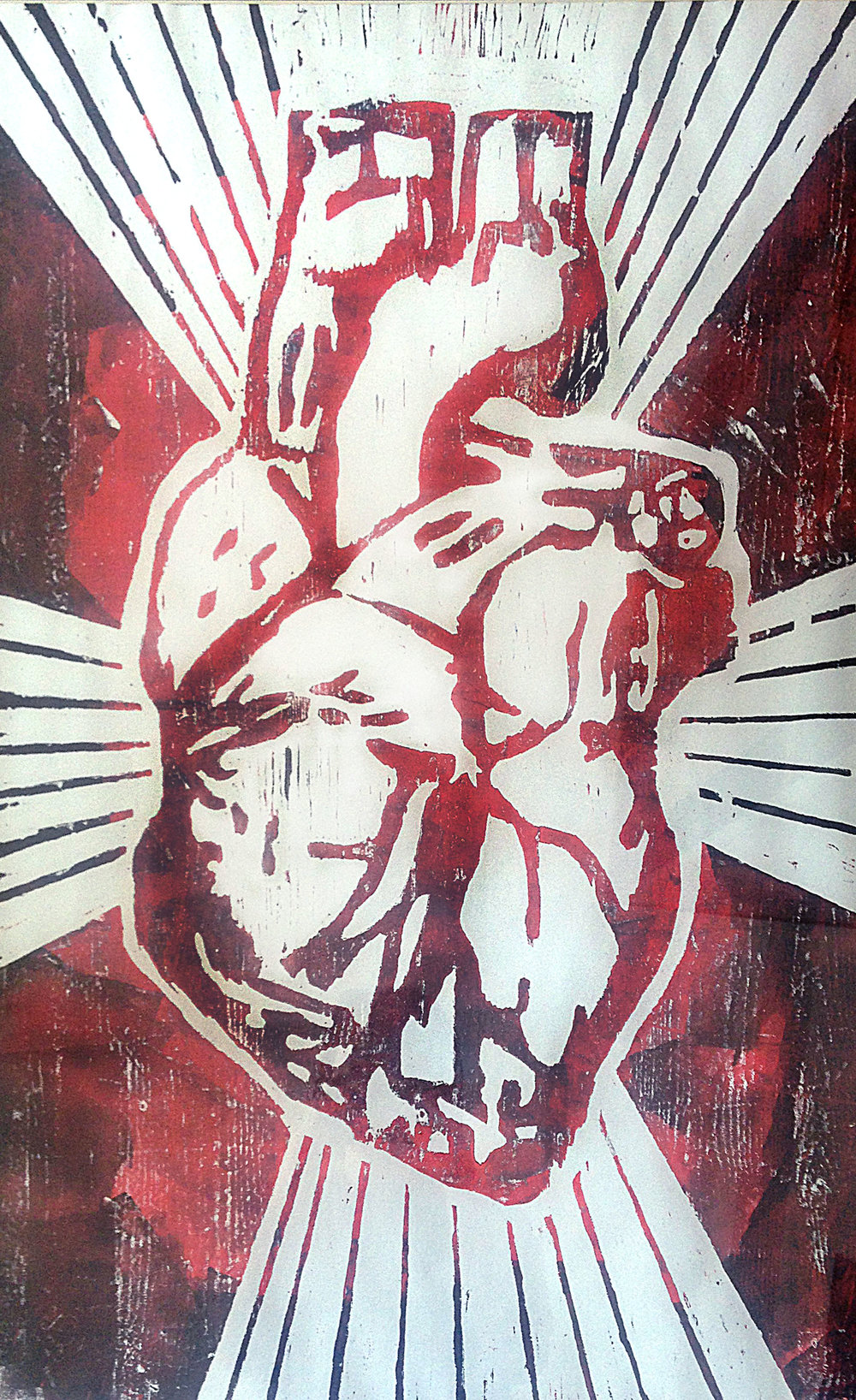 My Heart. Woodcut Monoprint. 60cmx90cm. 2013.