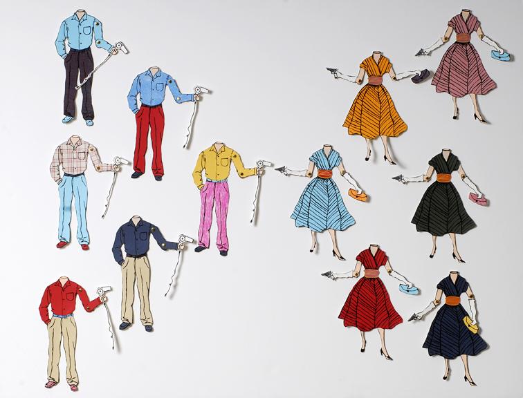 Paper Dolls (Version 1). Screen Prints/Woodcuts. 2007.