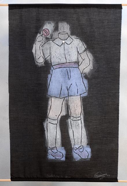 Nostalgia in Blue. Woodcut Print on Fabric. 2007.