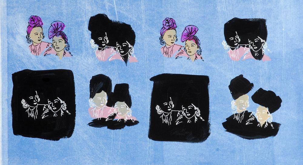 "Turban Ladies.  Monoprint/Screenprint. 10""x25"". 2007"