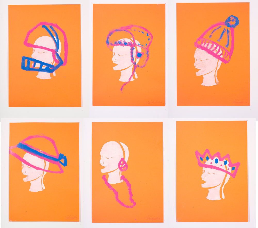 Mannequin Heads and Hats. MonoPrints. 2006.