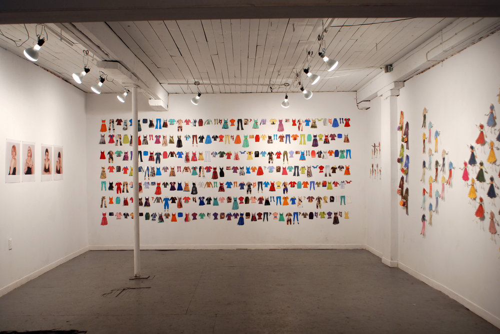 Doll Clothes (Installed).  Screen Prints, Woodcuts and Monoprints on Paper and Magazine Advertisements. 2.5 m x 4m. 2007.