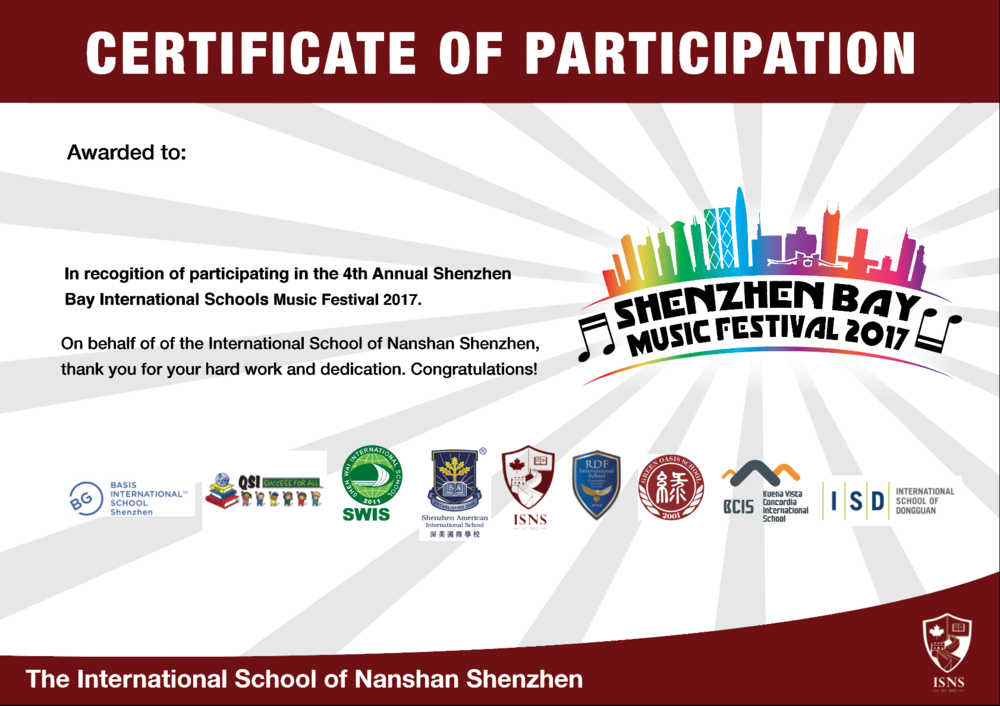 Shenzhen Bay International Schools Music Certificate. 2017.
