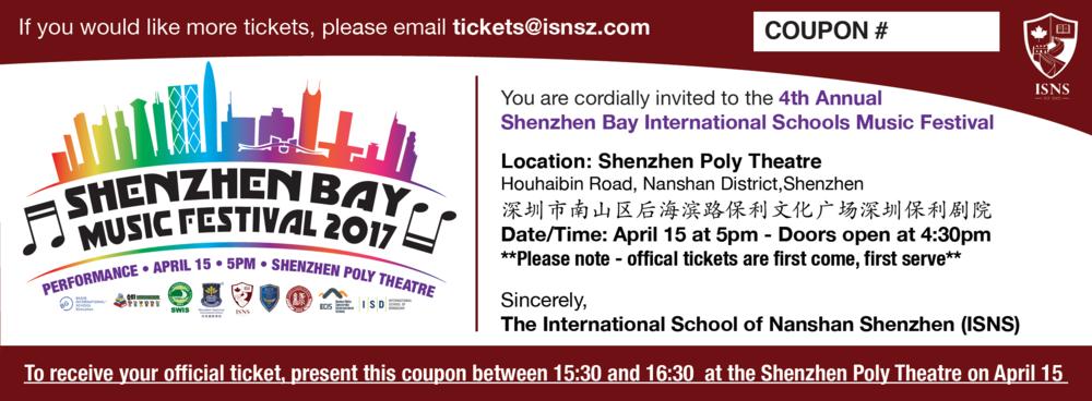 Shenzhen Bay International Schools Music ticket. 2017.
