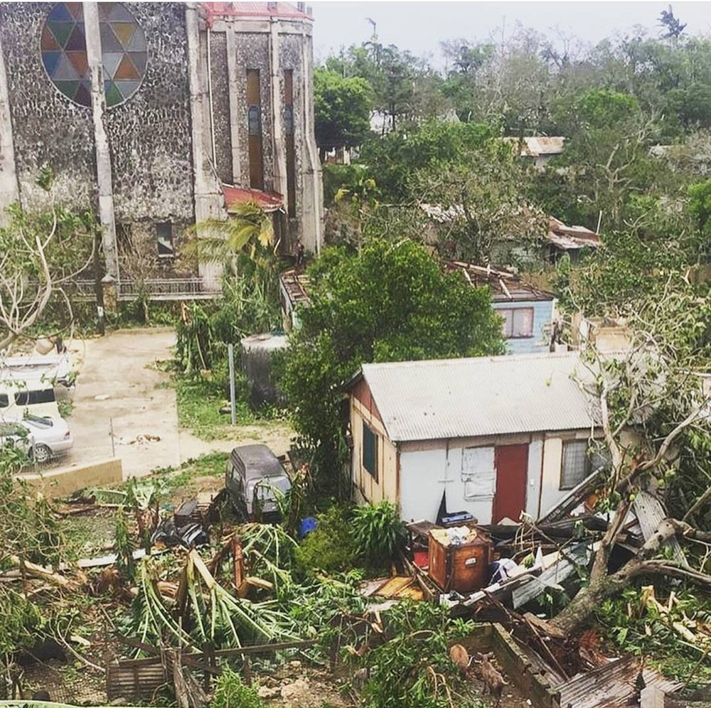 Central Church, trees and damage, Nuku'alofa - February 2018.
