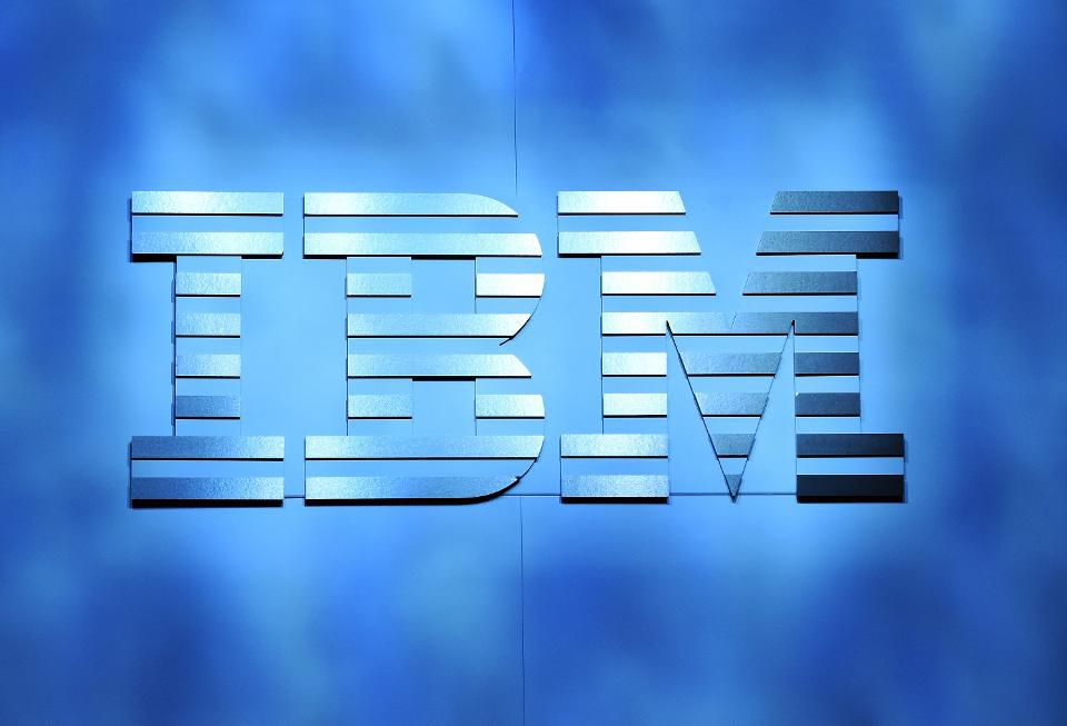 An IBM logo. (Photo by Ethan Miller/Getty Images).