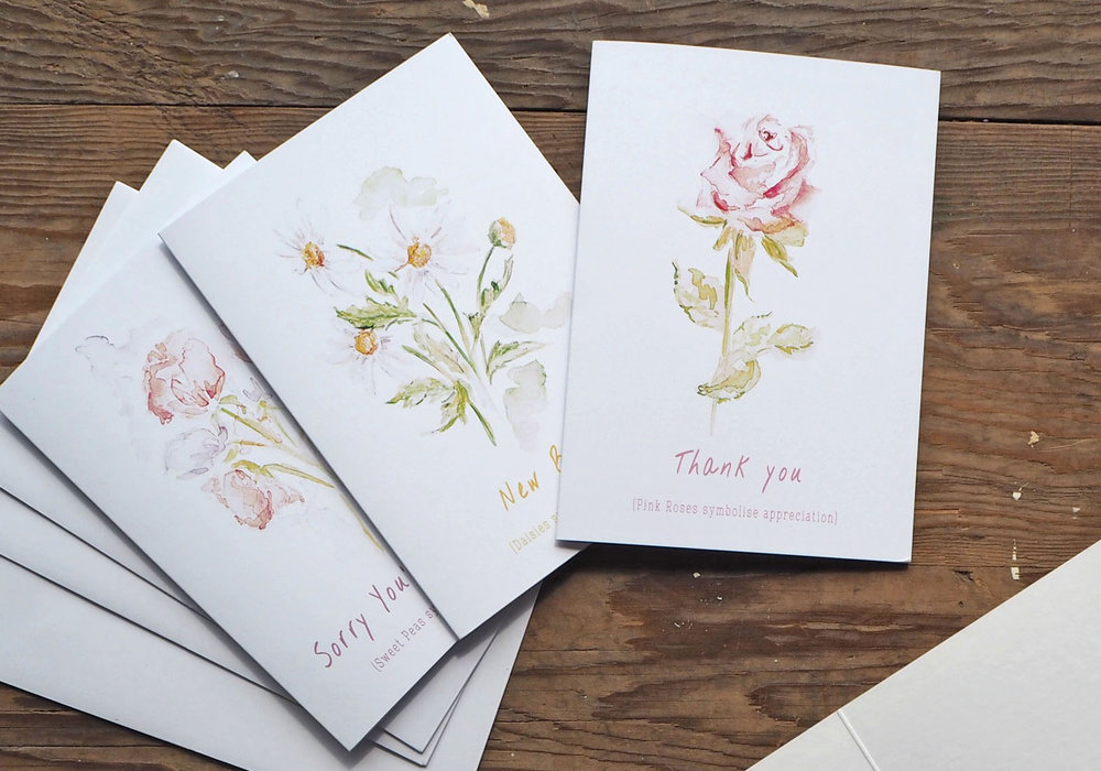 Greetings cards from the  Thoughtful Flower Collection