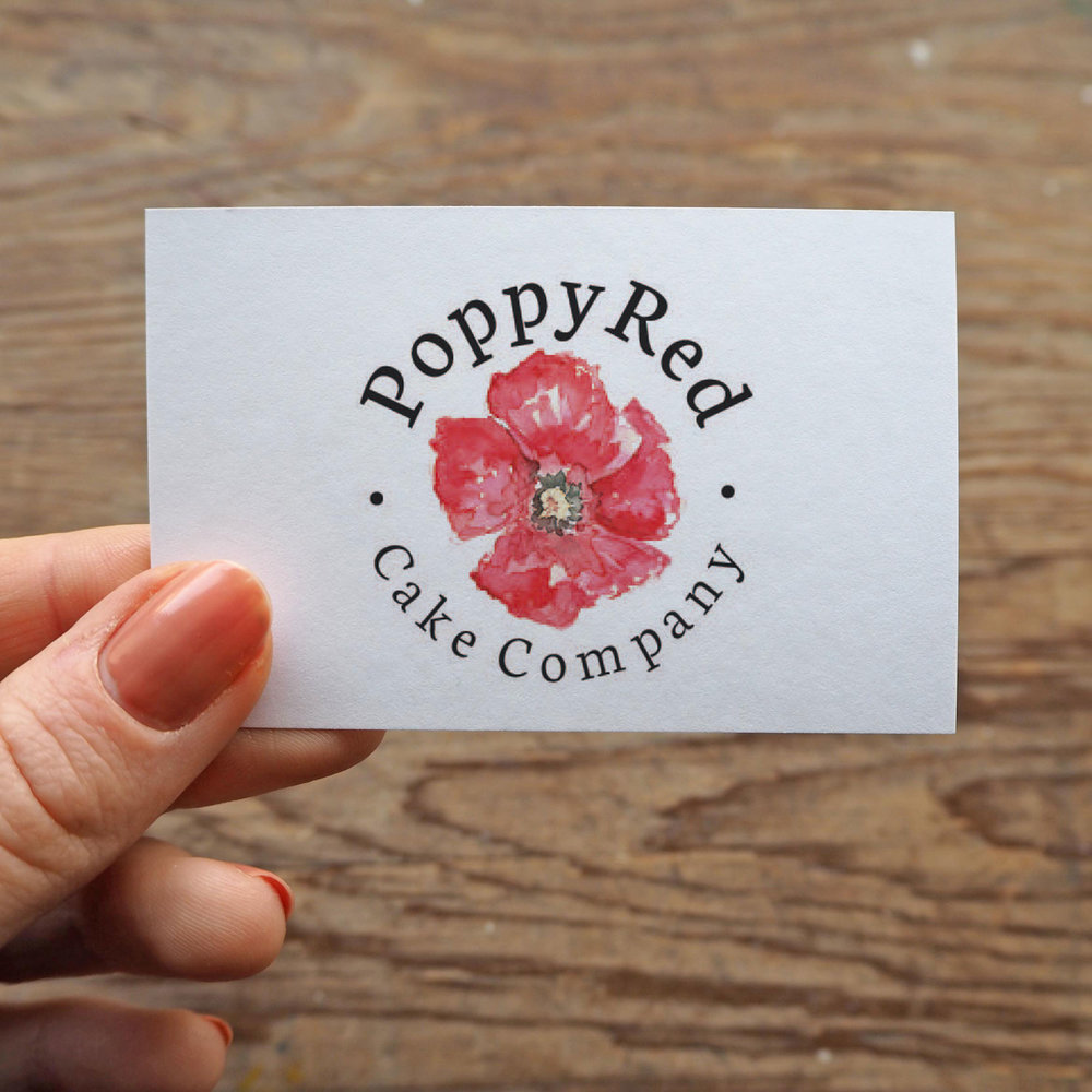 PoppyRed Cake Company - Asked me to design and paint a logo featuring a vivid poppy.