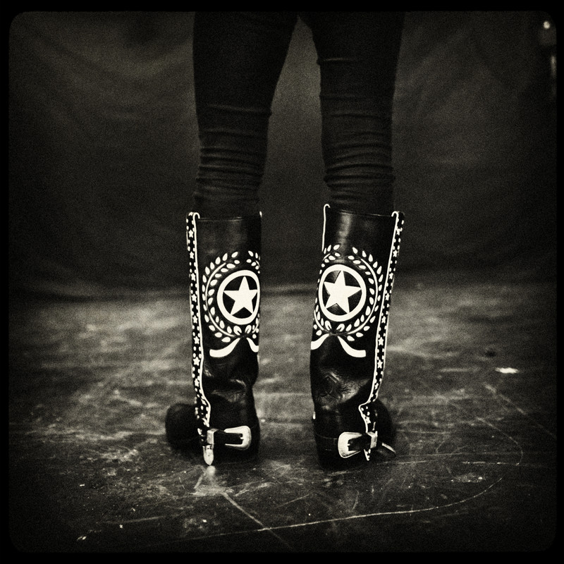 England, Ipswich, November 2008, Lemmy's boots on stage during the sound check at the Ipswich Regent theater.