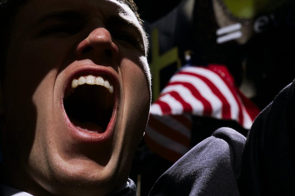 USA, New York City, 2003, Law Student at a pro-Iraq war rally.
