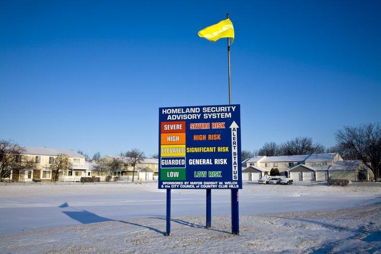 USA, Illinois, Country Club Hills, 2008, Homeland Security advisory billboard.