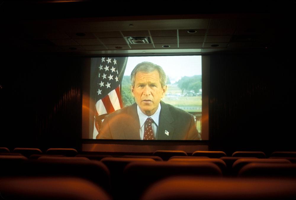 USA, Colorado, Colorado Springs, 2005, President Bush, Focus on the Family movie theater.
