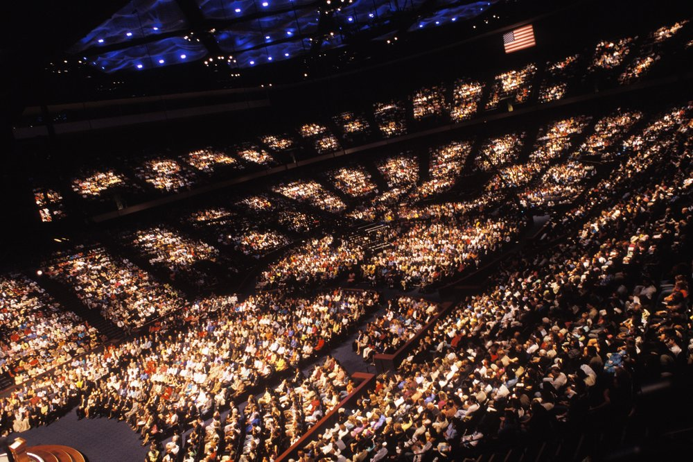 USA, Texas, Houston, July 2005, The Grand Opening of Lakewood Church's new Central Campus. Over 57,000 people packed the Sanctuary and video overflow rooms.