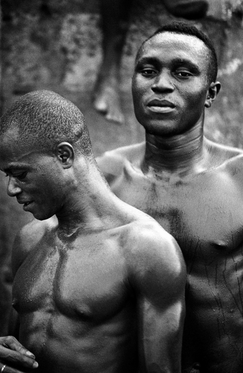 Sierra Leone, Freetown, April 2003, Portrait of two players of the team.