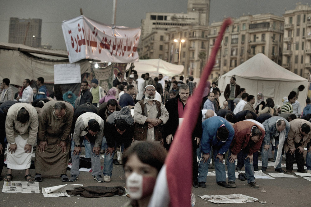 Cairo Egypt  November 24, 2011: Evening prayers at Tahrir Square, November 24, 2011.