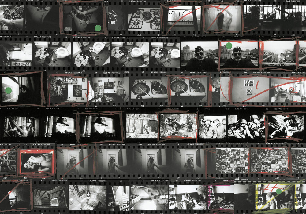 Contact sheet 'The Kibbutz' in Brooklyn is one of the few de-facto artist' colonies that has been able to resist the wave of condo conversation sweeping the area. At the end of a luxury waterfront avenue lined with luxury condos in various stages of development, the ten story building is home to 200 photographers, musicians, sculptors, filmakers and artists.