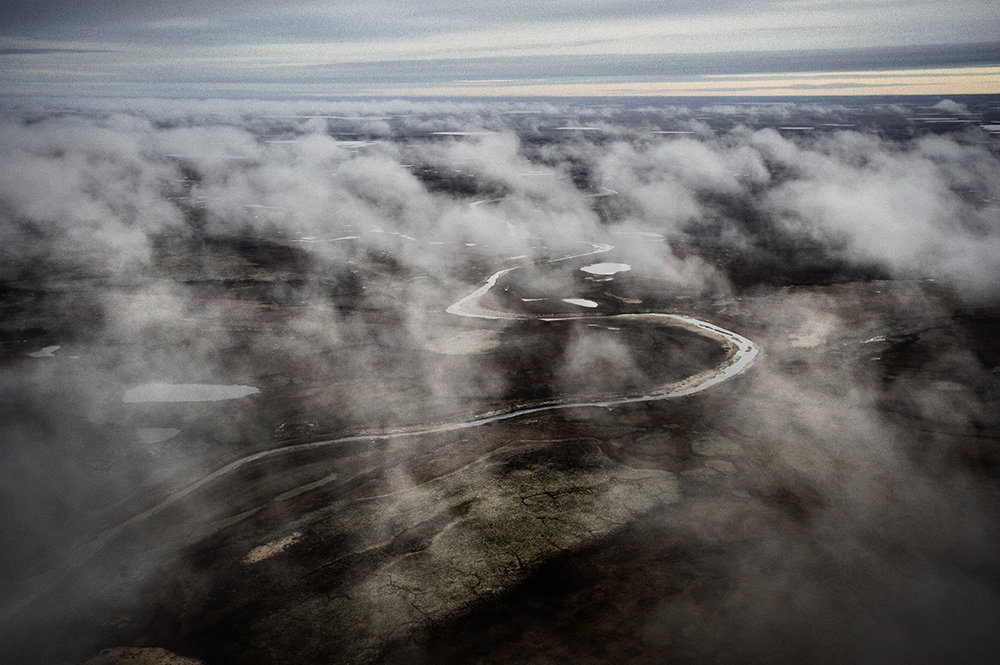 Russia, Yamal, October 2009, Aerial view of Yamal peninsula. It is one of the world's last great wildernesses, a 435-mile long peninsula of lakes and squelching tundra stretching deep into the Arctic Ocean.