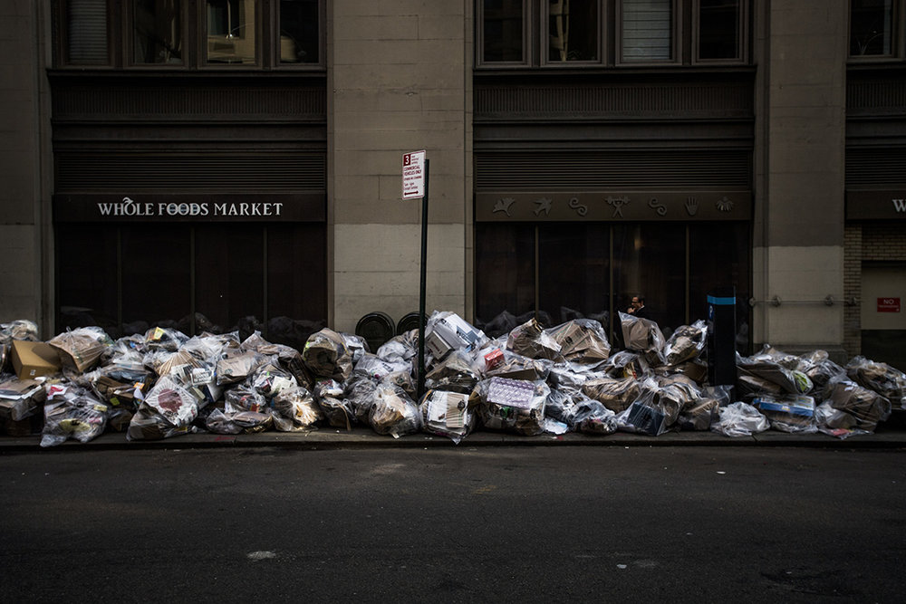USA, New York, New York City, 19 May 2016Waste waiting to be collected in Manhattan. There is no city in the world which produces more waste then NYC: 33 millions / year. The number two in the world is Mexico city, which produces 12 million tons and has double the population of NYC.Kadir van Lohuizen / NOOR