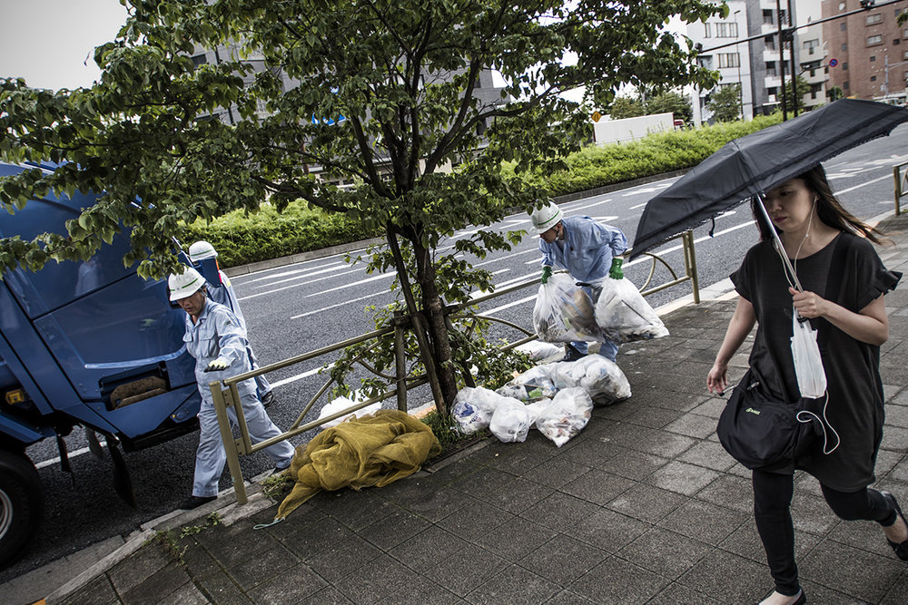 Japan, Tokyo,August 2016, Garbage being collected.