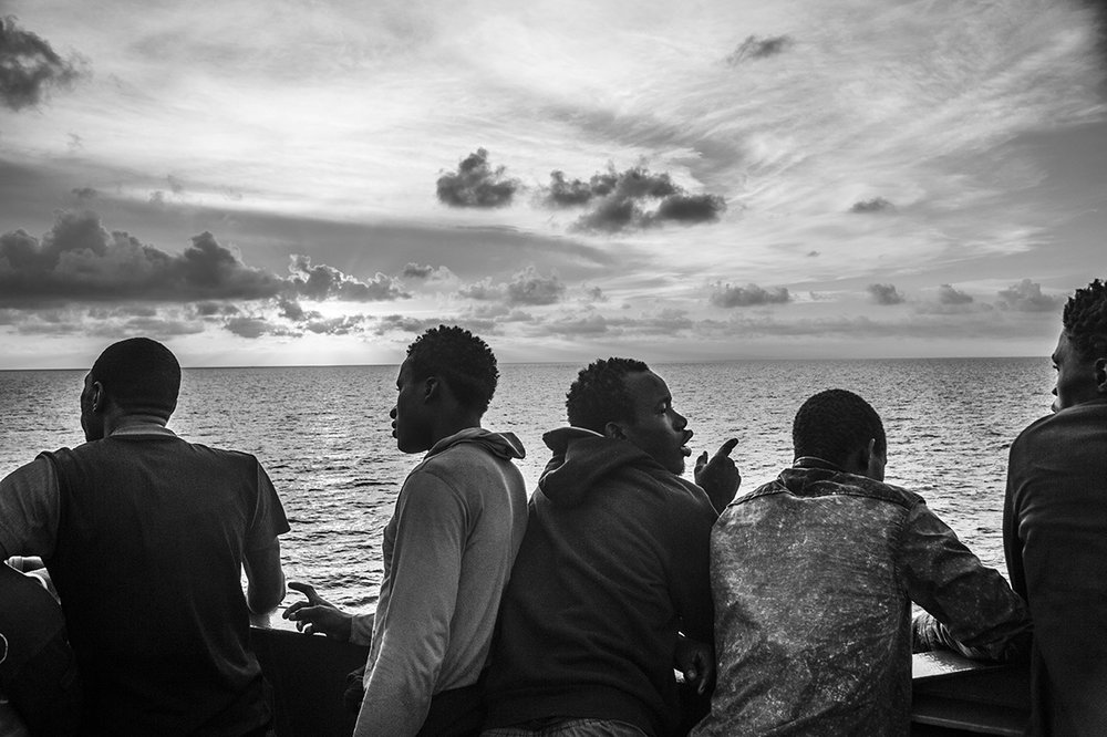 Mediterranean Sea, 27 August 2015, Migrants on the deck of the MSF Bourbon Argos, which is sailing towards Italy. The Argos has more than 700 migrants on board.