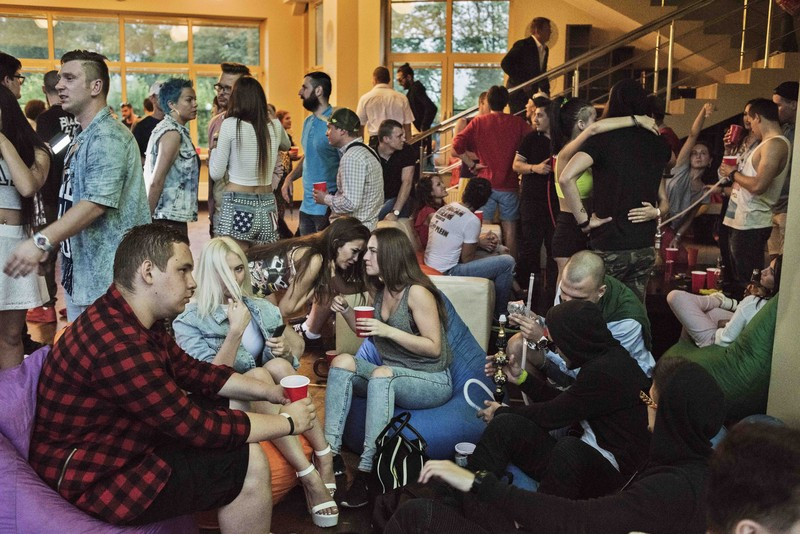 Russia, Moscow, June 2015, An American style going away party at a villa outside Moscow.