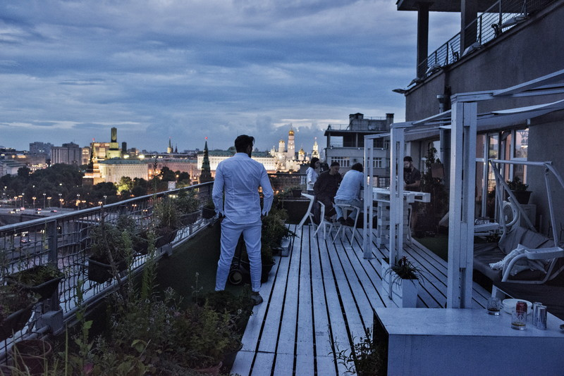 Russia, Moscow, July 2015, Rooftop University, a Friday evening event held by Departament, a marketing agency, that sponsors talks by professionals in media, culture, and business.