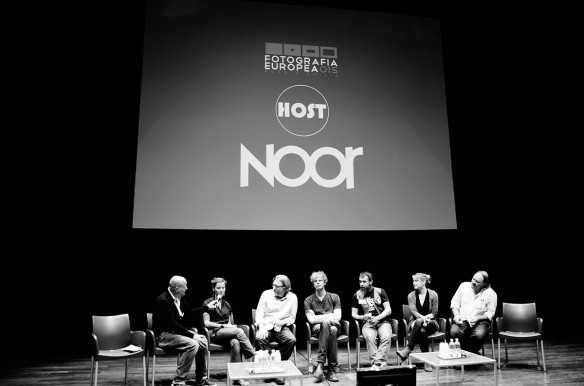 Lars Boering moderated NOOR Night with photographers Benedicte Kurzen, Jon Lowenstein, Kadir van Lohuizen, Pep Bonet, Andrea Bruce, and Francesco Zizola.