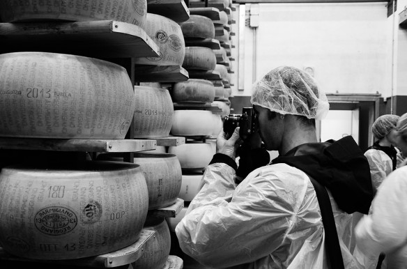 Workshop participants visit a Parmigiano-Reggiano maturation room.