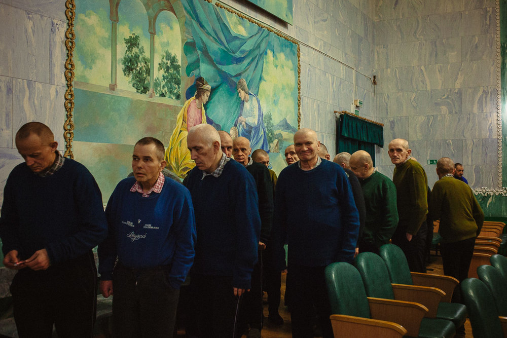Residents of the psycho-neurological residential care facility for the elderly and disabled #3 are leaving concert hall after the performance organized by volunteers. February 2, 2018, Minsk, Belarus.