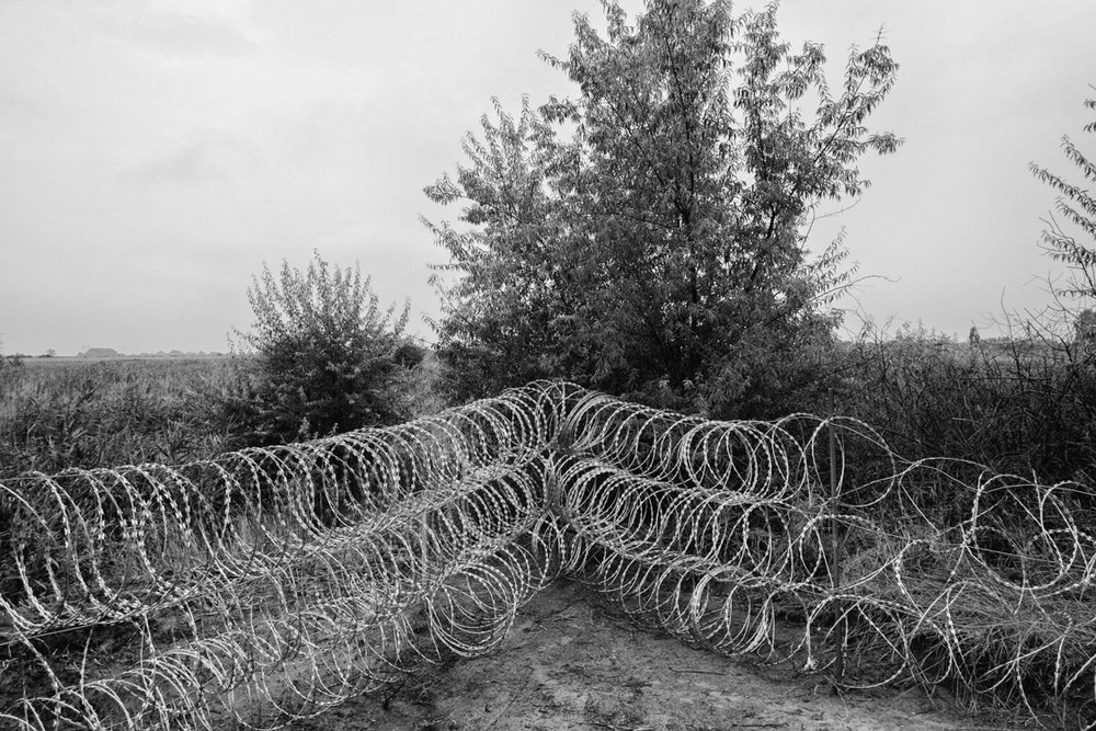 Hungarian border fence under construction.