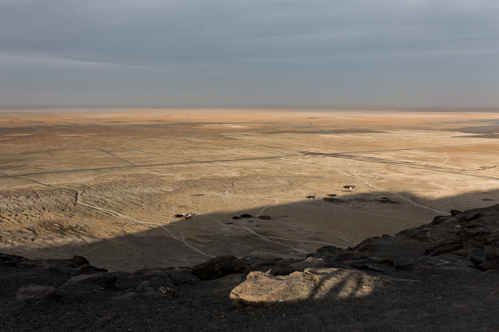 A view of Hamoun lake from Kouh Khajeh, the only mountain in Sistan province with an altitude of around 800 meters.