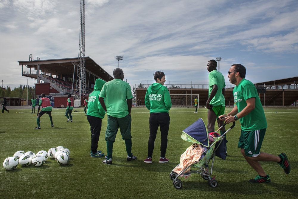 Sweden, Ostersund, June 2014.Darfur United�s team training for a match in the Ostersund Arena.