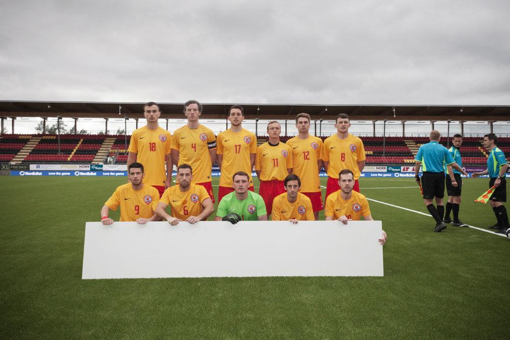Sweden, Ostersund, June 2014.Ellan Vannin's team group picture before a match.