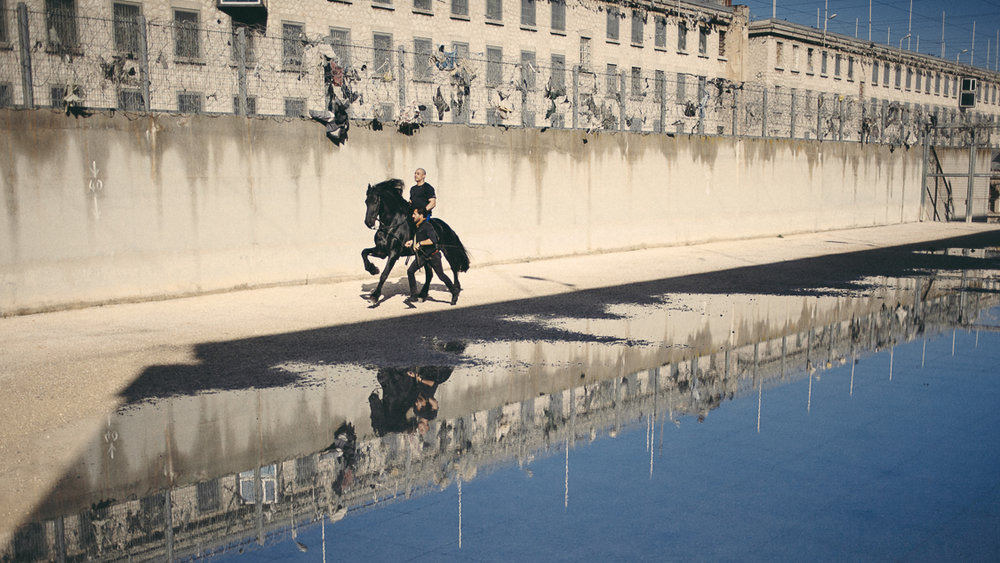 France, Marseille, 1 october 2014.Galloping, eyes closed, in the Cour du Desert. The participants were asked to look at the sky one last time and then close their eyes and let themselves be carried away at a trot and gallop.When the eyes reopened, sometimes big tears ran down the cheeks. Francesca Todde / NOOR