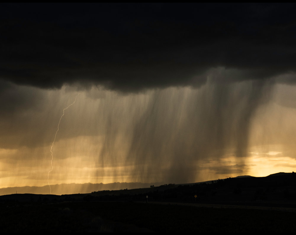 The rain falls on the mountains int he farm in Condorccocha, near to Ayacucho City in Peru.
