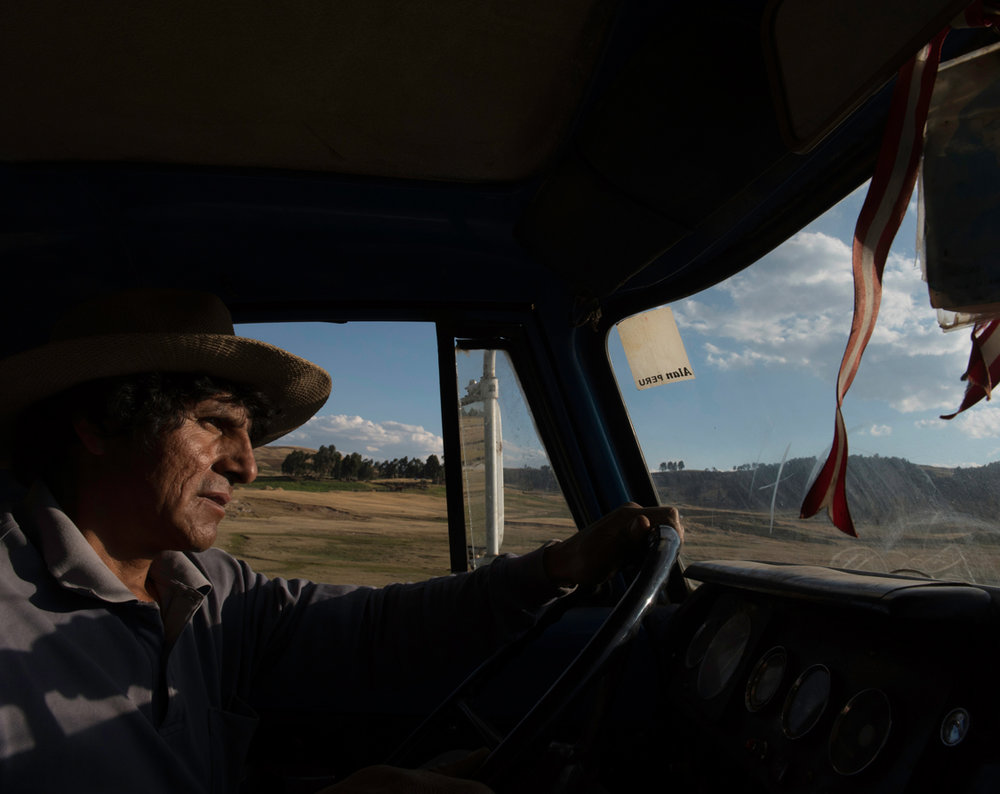 Colfir drives the truck used to transport the potatoes between the fields in and the farm in Ayacucho. Peru 2016.