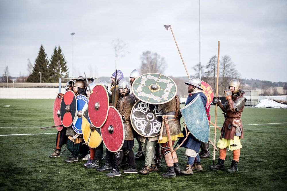 A group of Viking fighters practice formation fighting during the annual historical fighting festival Vinter, held in Norway every year.