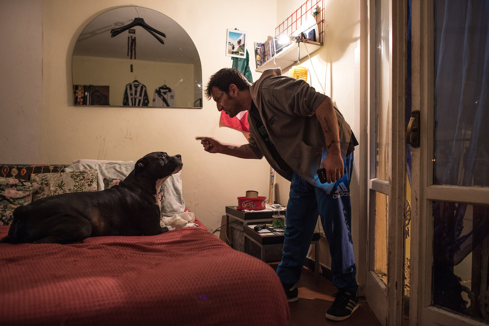Marco loves animals, especially his dog Tyson; however, his rage and aggressiveness affect a big part of his daily life.