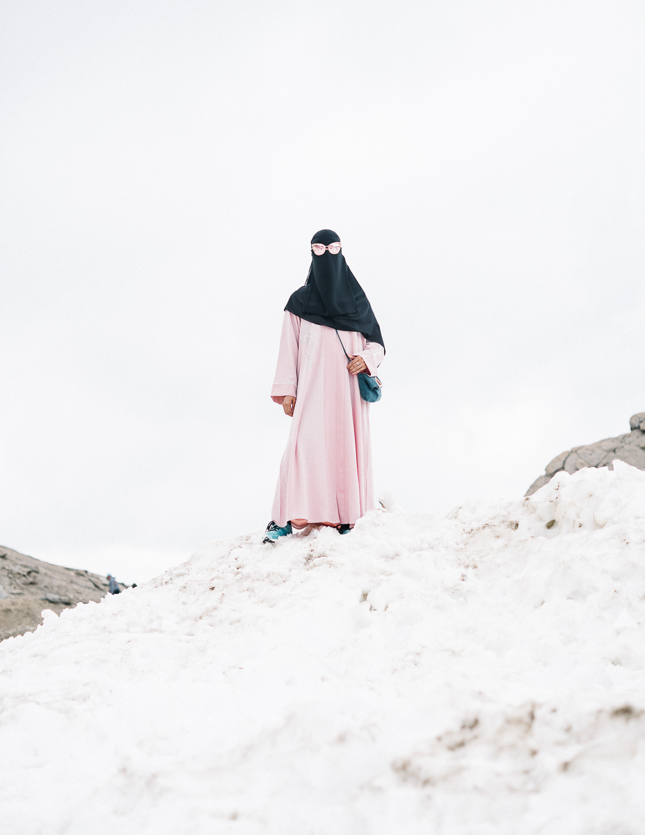 Arabic tourist on a glacier in Austria. 08/2017.